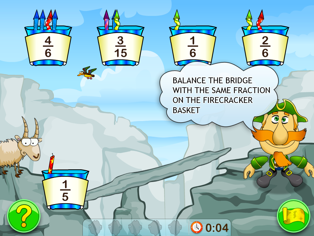 Fractions and Smart Pirates. Free full screenshot